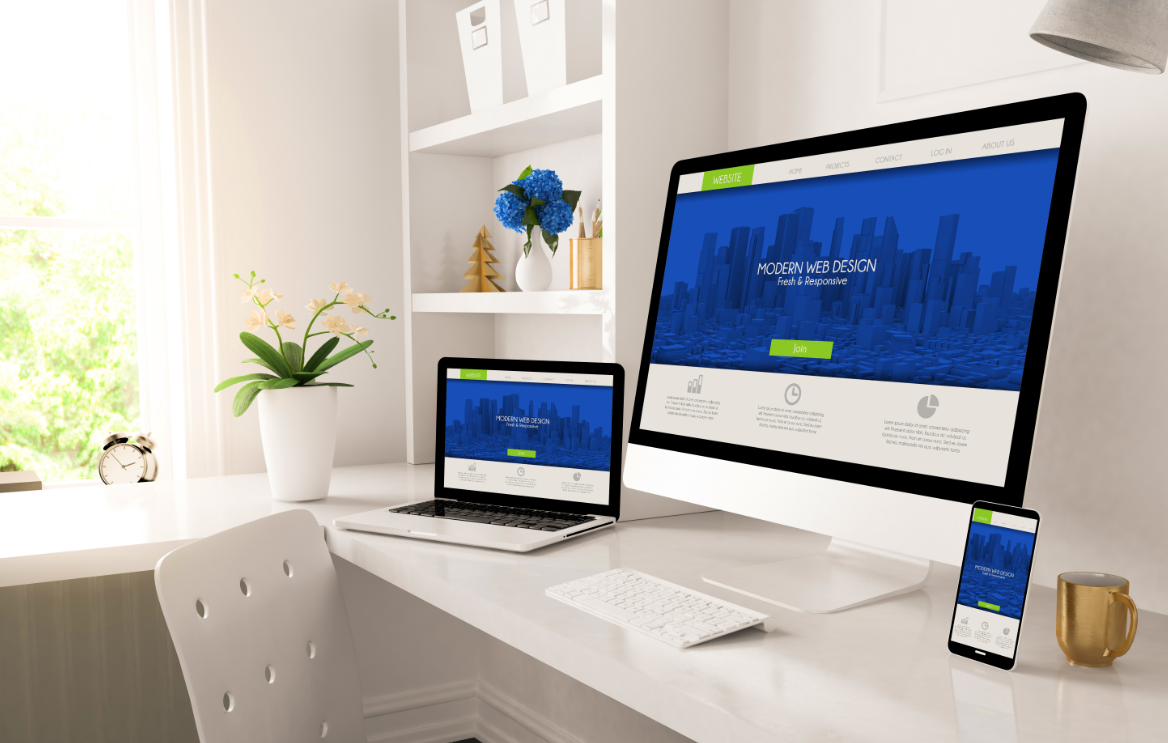 Website design across laptop, phone and PC