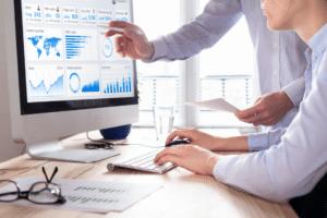 Executives analyzing website traffic